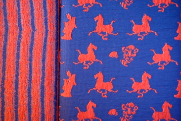 A close-up of some of the neat fabric embroidery in our room.