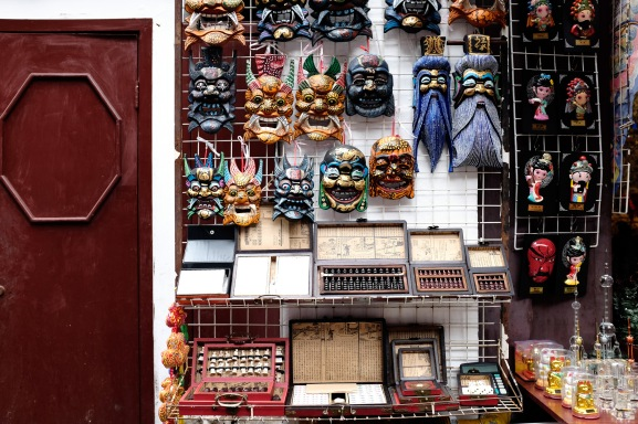 Some masks at a souvenier stand by the Yu Garden.