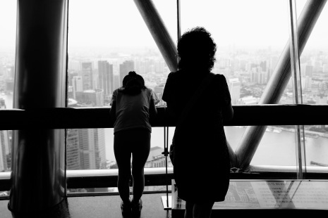 Views from the Pearl Tower's glass walkway.