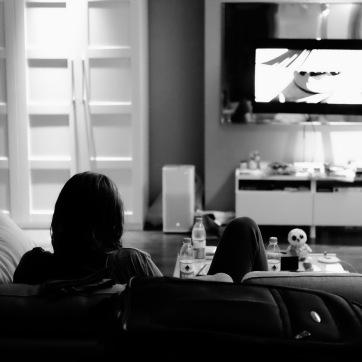 Lounging and watching Kung-Fu Panda
