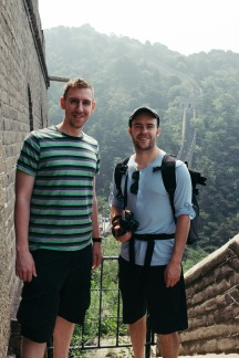 Andrew and I catching our breath after climbing a section.