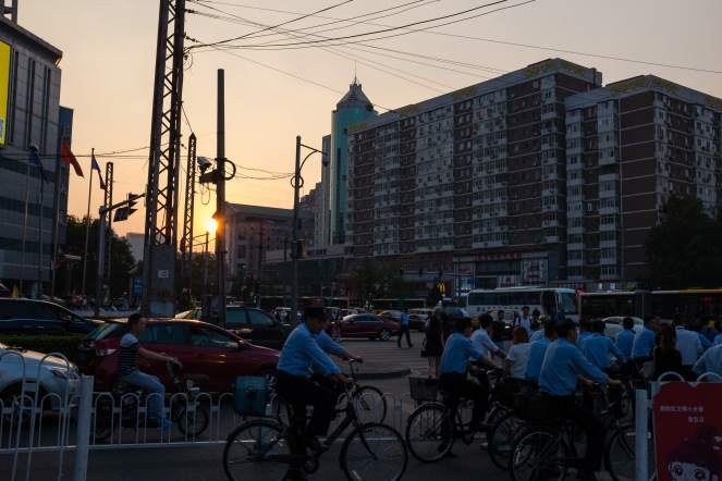 We caught a rare semi-sunset on the way to the restaurant! Usually the haze is so thick it just kind of gradually gets darker and there's no typical sunset.
