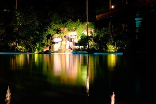 The resort's pool at night