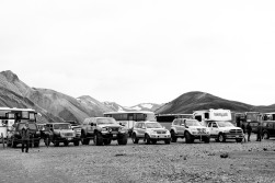The 4WD vehicles that braved the river crossings to make it to Landmannalauger