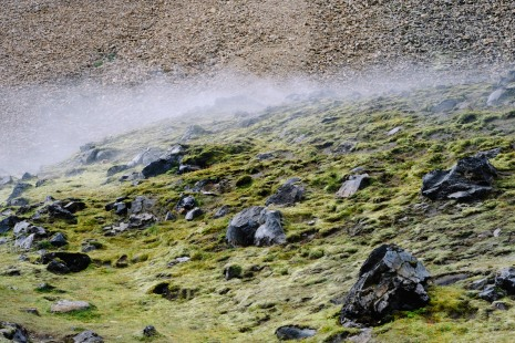 Steam from one of the many hot springs in the Landmannalauger area
