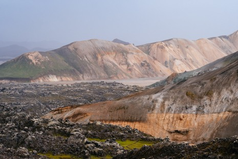 Looking back at the Landmannalauger valley and the Laugahraun lava field