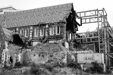 Remnants of a historic church after the earthquakes