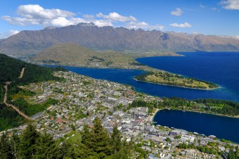 The view looking down on Queenstown