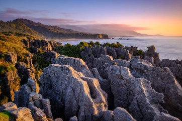 The famous pancake rocks at sunset